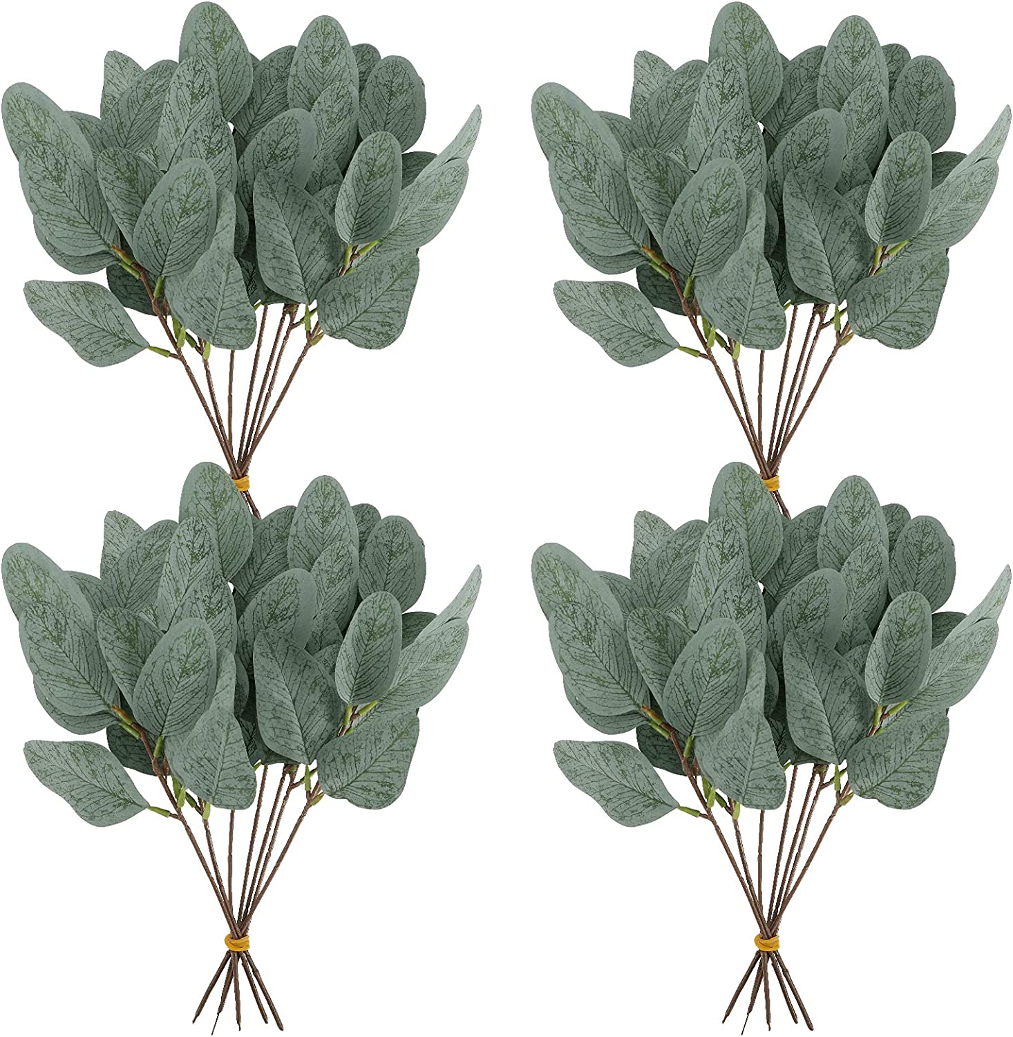 Whonline 20pcs Artificial Eucalyptus Leaves Stems Short Silver Dollar Faux Eucalyptus Branches Greenery Plants for Floral Bouquets Wedding Holiday Decor