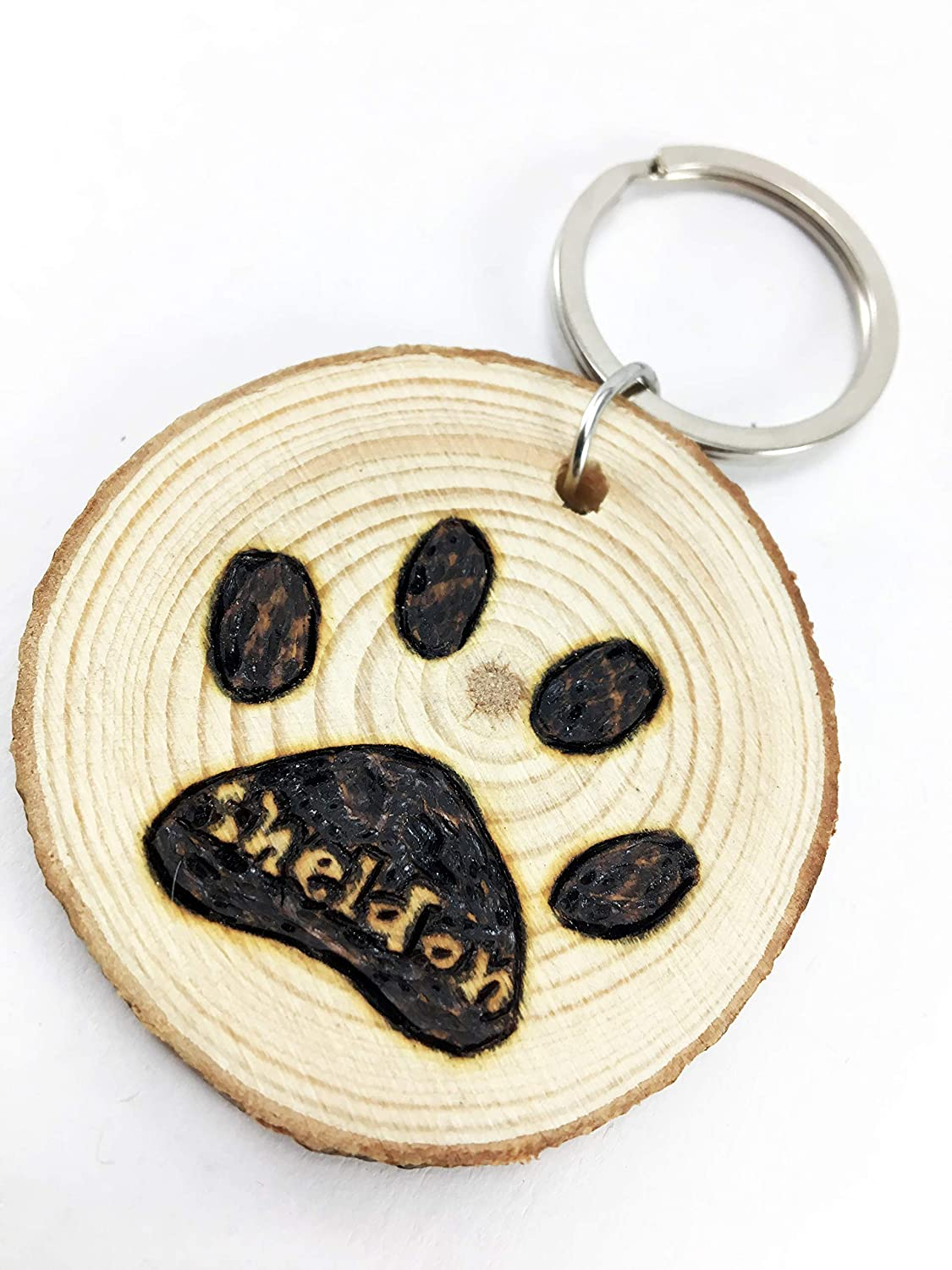 Cat or Dog Paw Customized Wood Slice Pet Lover Keychain