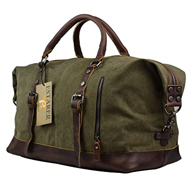 Amazon.com   Estarer Canvas Weekend Bag Oversized Travel Duffle ...