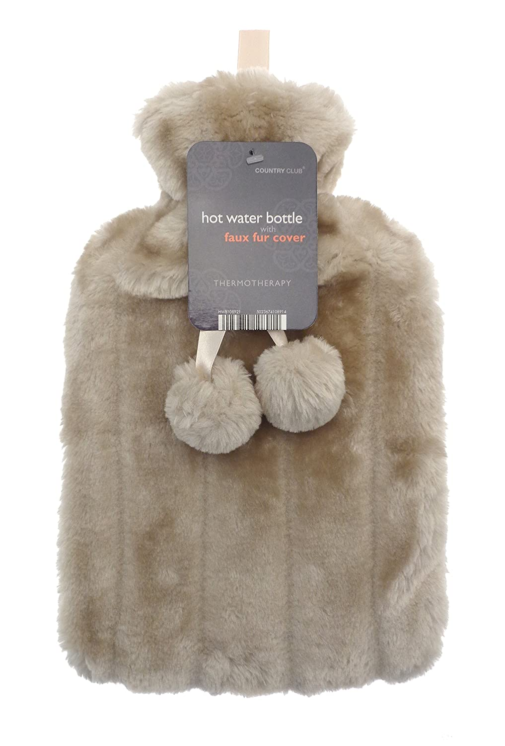 Luxurious Cosy Faux Fur Cover Hot Water Bottles with Pom Poms: 2 Litre Size (Mink) Country Club