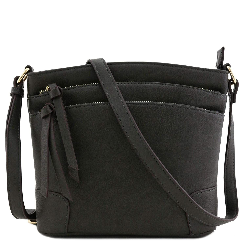 Charcoal Grey Triple Zipper Pocket Medium Crossbody Bag
