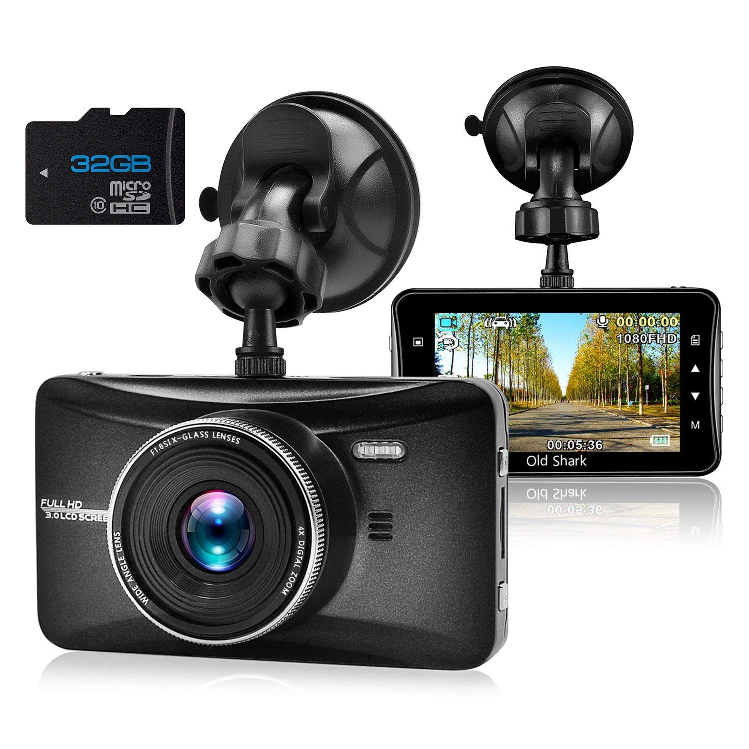 OldShark Dash Cam, 1080P HD Car Driving Video Recorder Built in G-Sensor, Night Vision, Parking Monitor, Loop Recording, 170 Wide Angle View, Metal Shelled Dashboard Camera (Gold with Sony Sensor)