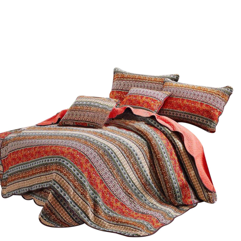 Best Striped Classical Cotton 3-Piece Patchwork Bedspread Quilt Sets King