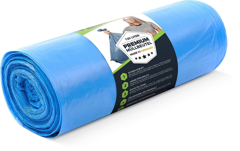 Bolsas de basura estables con contenido reciclado de Alemania Premium Heavy Duty L/& Bolsas de basura 120 litros Bolsas de basura para el hogar y la industria 70 /μ 50 piezas rollo Bolsas de basura Bolsas extremadamente resistentes a la rotura