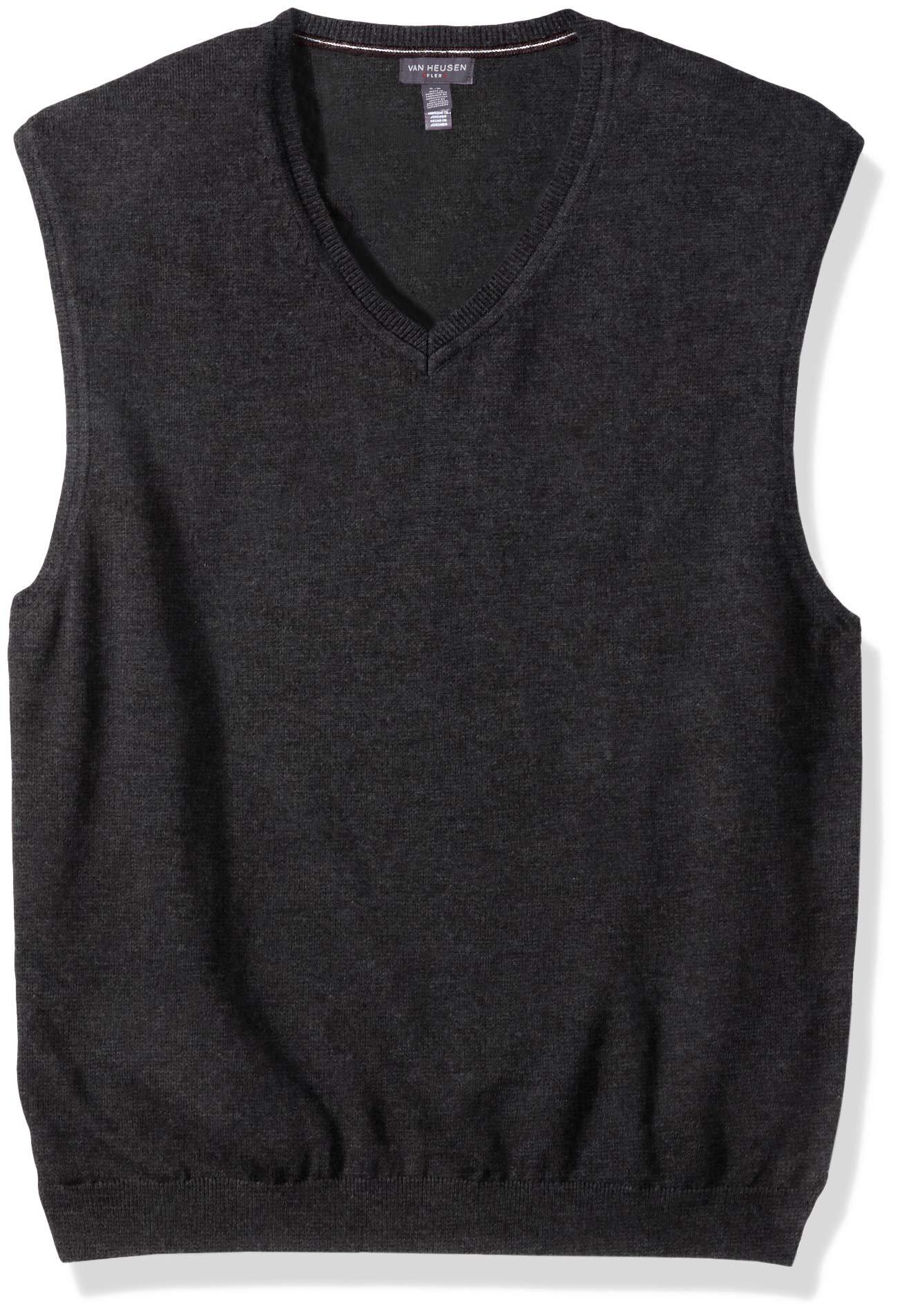 Van Heusen Men's Solid Sweater Vest 12GG, Black Heather, Small by Van Heusen
