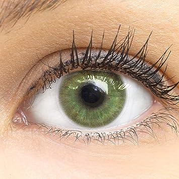 GLAMLENS lentillas de colores verdes Neapel Green + contenedor. 1 par (2 piezas) - 90 Días - Sin Graduación - 0.00 dioptrías - blandos - Lentes de contacto verde de hidrogel de silicona: Amazon.es: Salud y cuidado personal