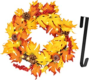 """Twinkle Star 17"""" Fall Wreath withMetal Hanger, Pre-lit Lights Autumn Harvest Wreath, Multicolor Artificial Maple Leaves Pumpkin Pine Cone and Berries, for Front Door Wall & Thanksgiving Decorations"""