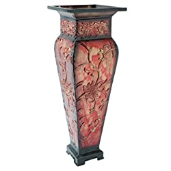 "Hosley's 21.25"" Tall Embossed Floor Vase, Red. Ideal Gift for Home Office, Party, Weddings, Office Decor, Dried Floral O4"