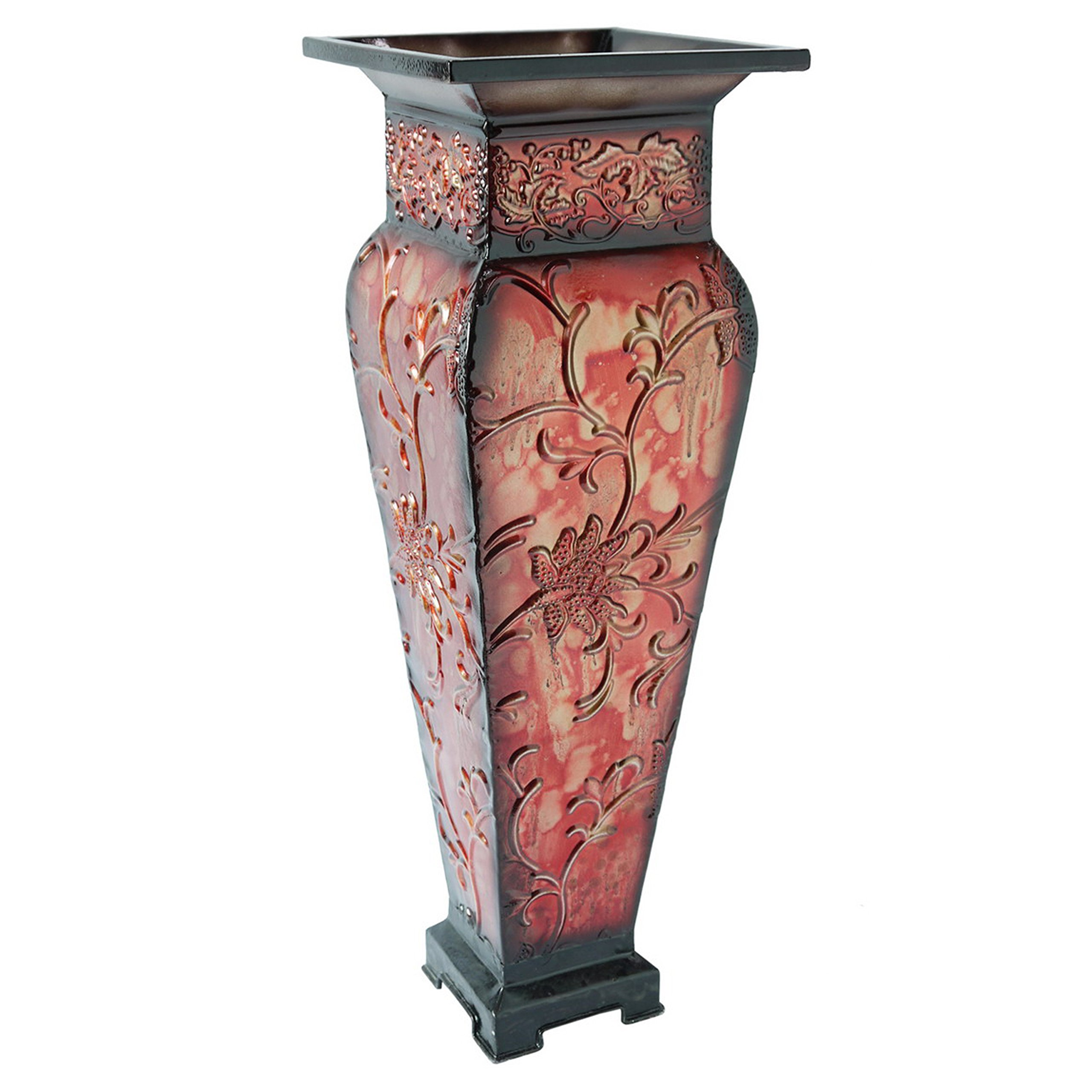Hosley's 21.25'' Tall Embossed Floor Vase, Red. Ideal Gift for Home Office, Party, Weddings, Office Decor, Dried Floral O4