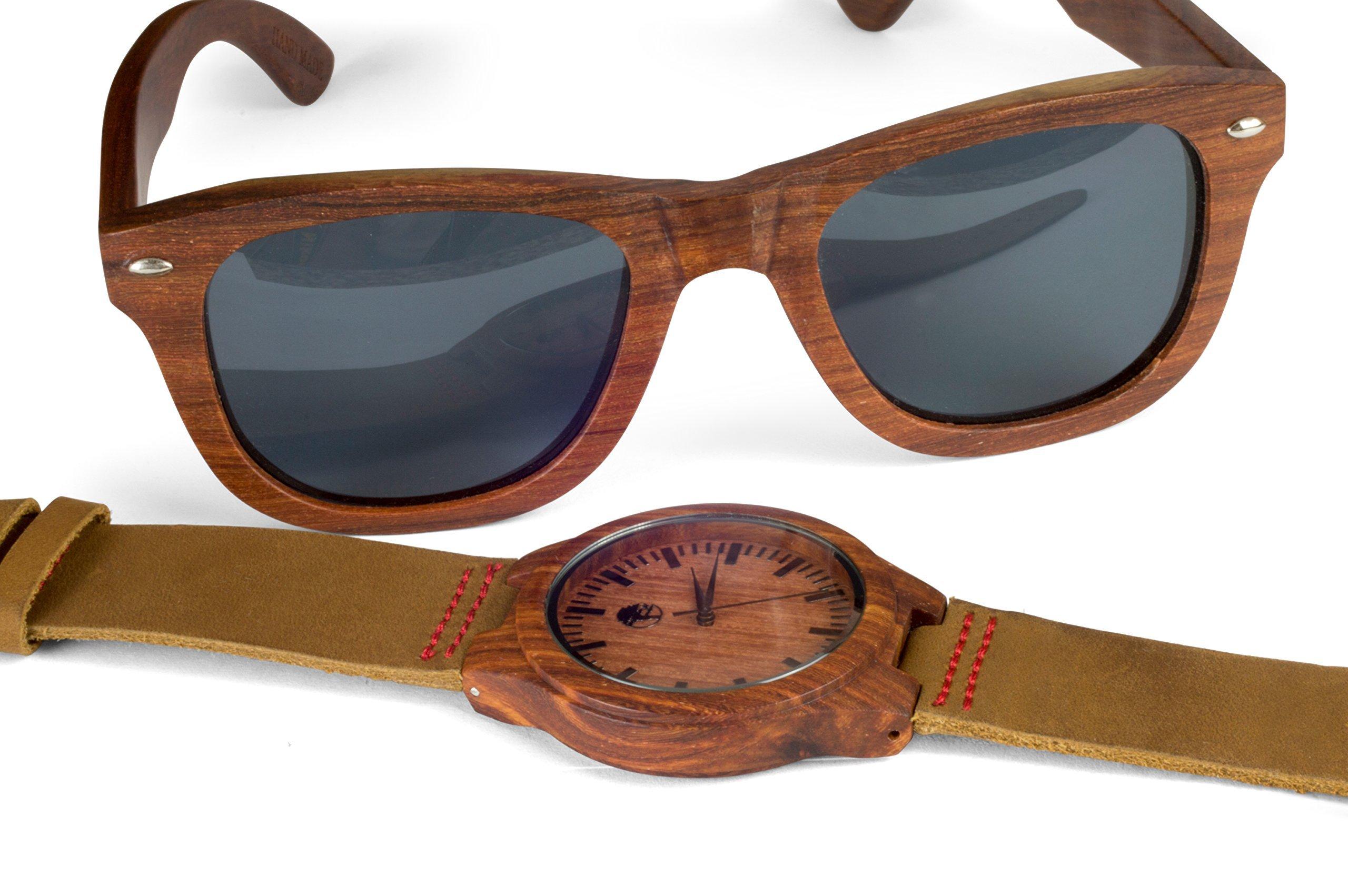 Men's Wood Watch - Wooden Sunglasses - Sandalwood Bezel - Genuine Leather - by Viable Harvest (Gift Set)
