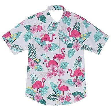 92bef803 Hawaiian Shirts Boys Flamingo Beach Aloha Party Camp Short Sleeve Holiday Casual  Button Down Tee 2
