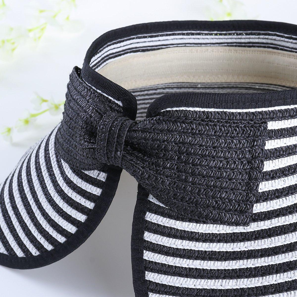 Women Summer Sun Protection Beach Folding Wide Brim Stripe Straw Hat Cap Sunhat Black