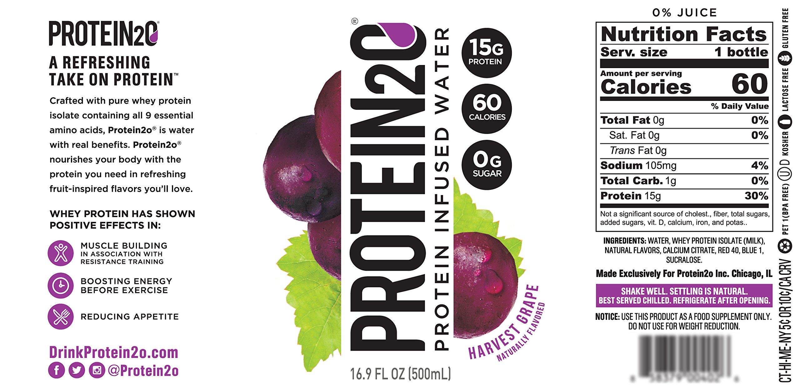 Protein2o Low-Calorie Protein Infused Water, 15g Whey Protein Isolate, Harvest Grape (16.9 Ounce, Pack of 12)