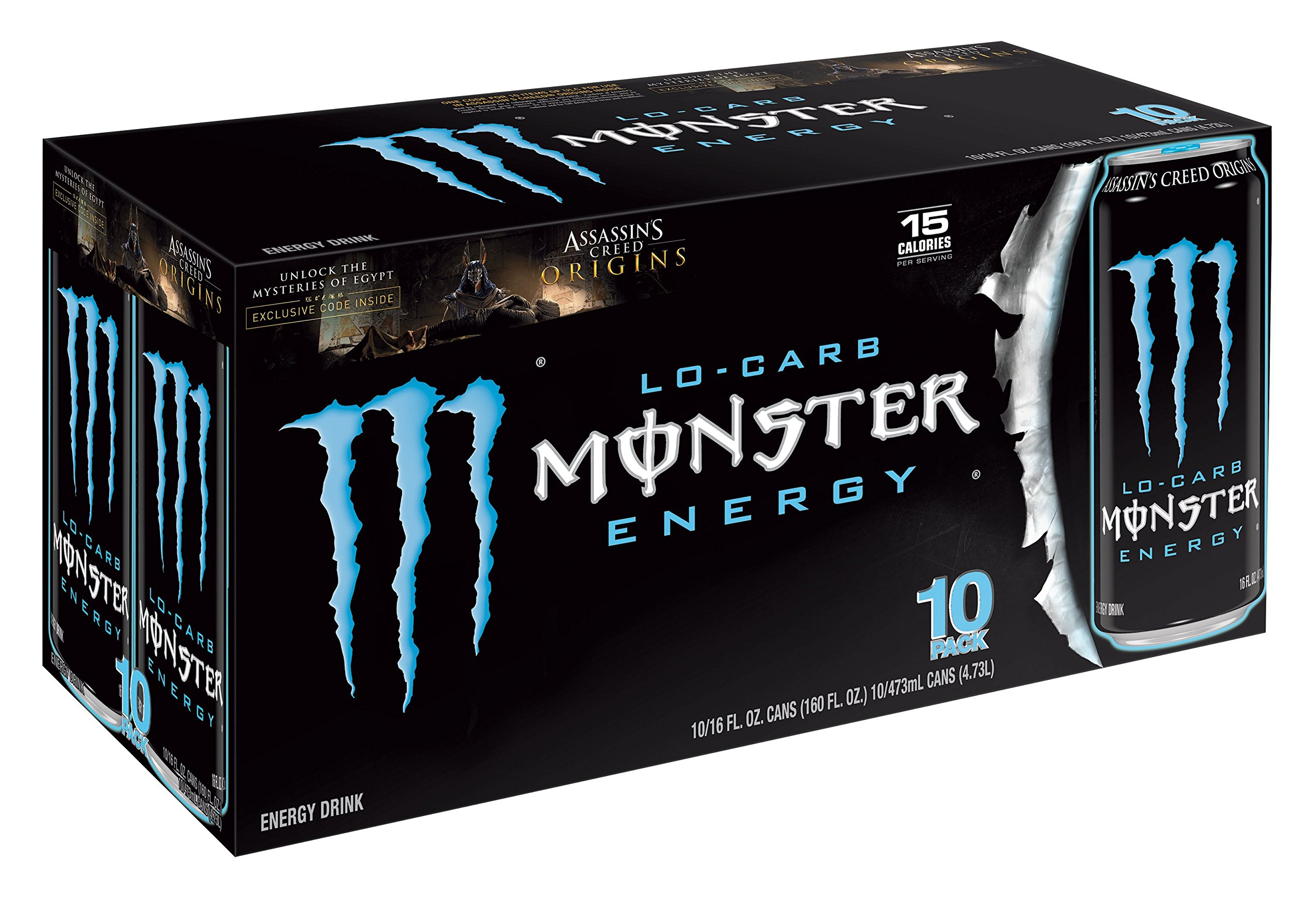 monster energy lo carb 24 ounce pack of 12 blue monster grocery gourmet food. Black Bedroom Furniture Sets. Home Design Ideas