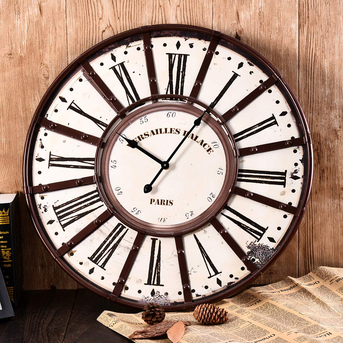 Amazon.com: RuiyiF Vintage Wall Clocks Large Decorative, Oversized Wall Clock Rustic Metal Battery Operated Retro Silent Non Ticking Noise 23 Inch Easy to ...