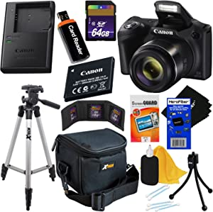Canon Powershot SX420 is 20 MP Wi-Fi Digital Camera with 42x Zoom (Black) Includes: Canon NB-11LH Battery & Canon Charger + 9pc 64GB Deluxe Cameras Accessory Kit w/HeroFiber Cloth