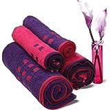 Spaces Atrium 4 Piece 450 GSM Cotton Towel Set - Fuchsia Pink and Purple