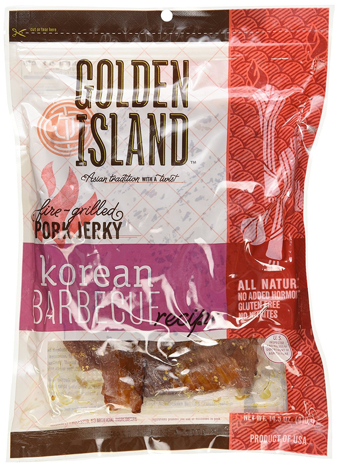 Golden Island Natural Style Pork Jerky, Korean Barbecue Recipe, 14.5oz (Pack of 3) by Golden Island (Image #2)