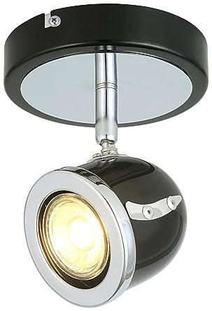 san francisco 105c5 24424 LED Retro Adjustable Eyeball Black &Chrome Ceiling Spotlight (Black  &Chrome, 1 Lights)