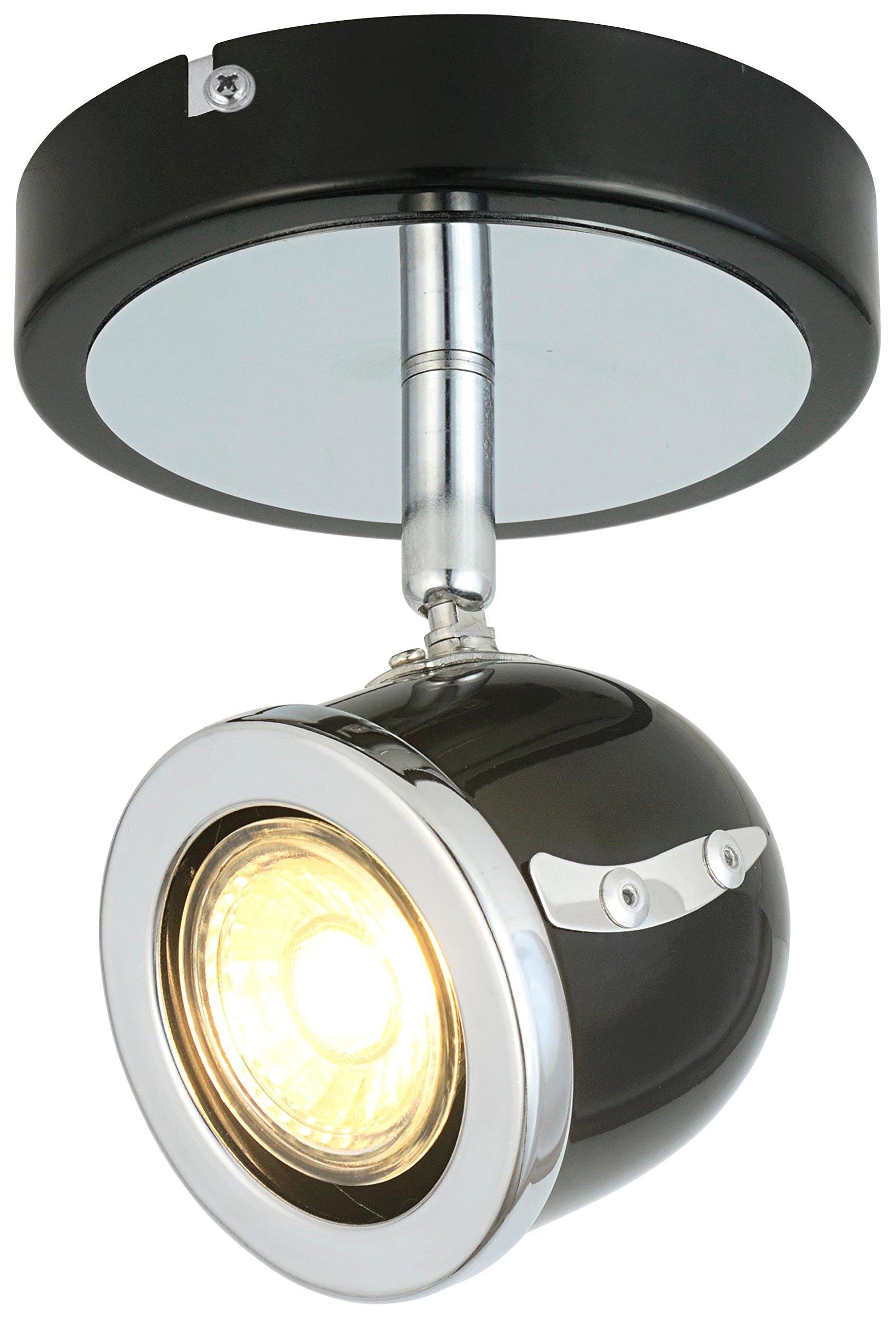 LED Retro Adjustable Eyeball Black &Chrome Ceiling Spotlight (Black & Chrome, 1 Light)