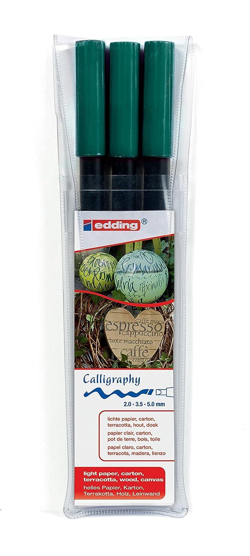 Made in Germany Ideal f/ür Kalligraphie und Lettering auf nahezu allen Oberfl/ächen edding 1255 Kalligrafie-Stift Farbe: schwarz 3x