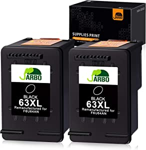 JARBO Remanufactured Ink Cartridge Replacement for HP 63XL 63 XL 63 Black Ink Cartridge, 2 Black, for HP Envy 4520 4516 Officejet 4650 3830 3831 3833 4655 Deskjet 1112 3630 3632 3633 3636 3637