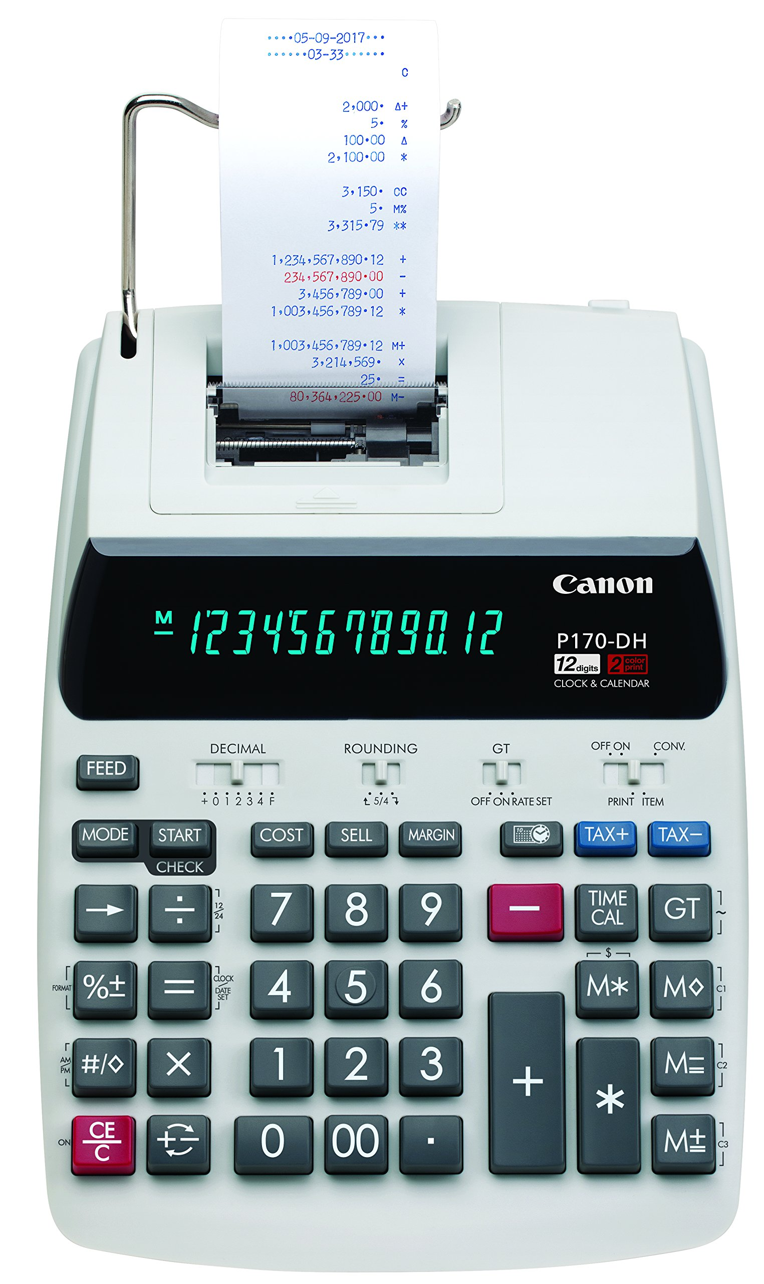 Canon Office Products 2204C001 Canon P170-DH-3 Desktop Printing Calculator with Currency Conversion, Clock & Calendar, and Time Calculation by Canon