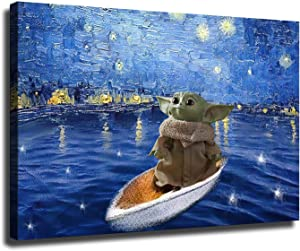 """NoahArt Star Wars Mandalorian Baby Yoda on A Boat Under The Stars HD Print Canvas Painting Home Living Room Bedroom Wall Art Office Painting Party Decoration (16""""x24"""",01-No Framed)"""