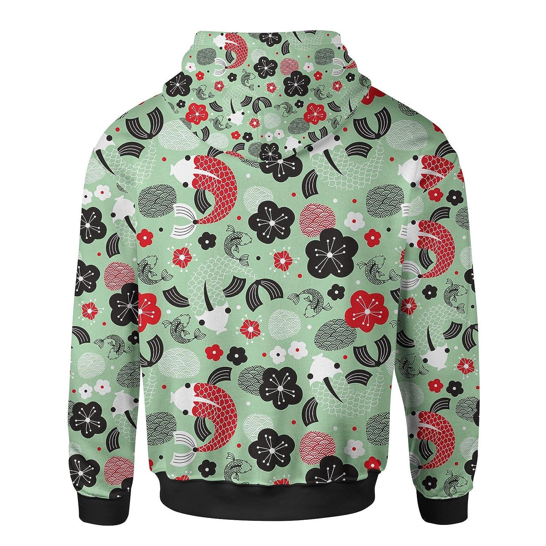 ba1edea3a Koi Carp Asian Fish Men Zip Up Hoodie at Amazon Men's Clothing store: