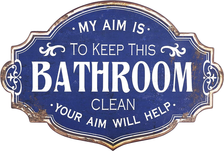 Creative Co-op Vintage Metal Bathroom Decorative Wall Sign, Distressed Blue