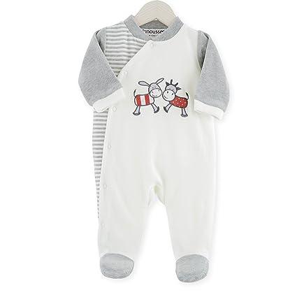 Kinousses Pijama monopieza para bebé, terciopelo, diseño de vaca y burro, color crudo