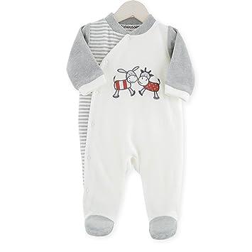 "dd82b3cc6f9aa Kinousses 810 2095 Grenouillères Pyjama bébé velours "" Vache & Âne  "" 3 mois"