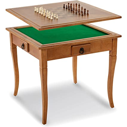 Classic 2 In 1 Solid Wood Traditional Chessboard Gaming Table With Table Top
