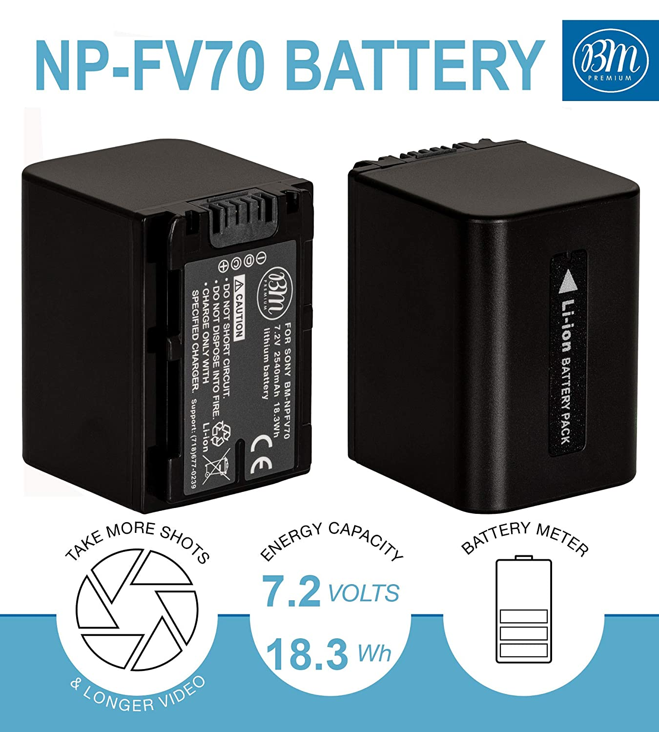 BM 2 NP-FV70 Batteries and Charger Kit for Sony FDR-AX53 FDR-AX700 HDR-CX455//B HDR-CX675//B HDR-CX900 HDR-PJ340 HDR-PJ540 HDR-PJ670//B HDR-PJ810 FDR-AX33//B FDR-AX100 Handycam Camcorder
