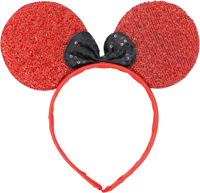 Micky Minnie Mouse orejas, diadema, disfraz, RED} Noche de ...