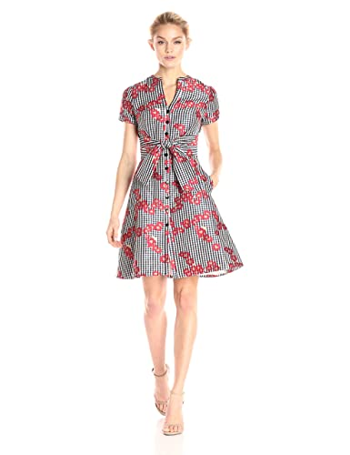 Adrianna Papell Women's Gingham and Floral Flared Embroidered Shirt Dress