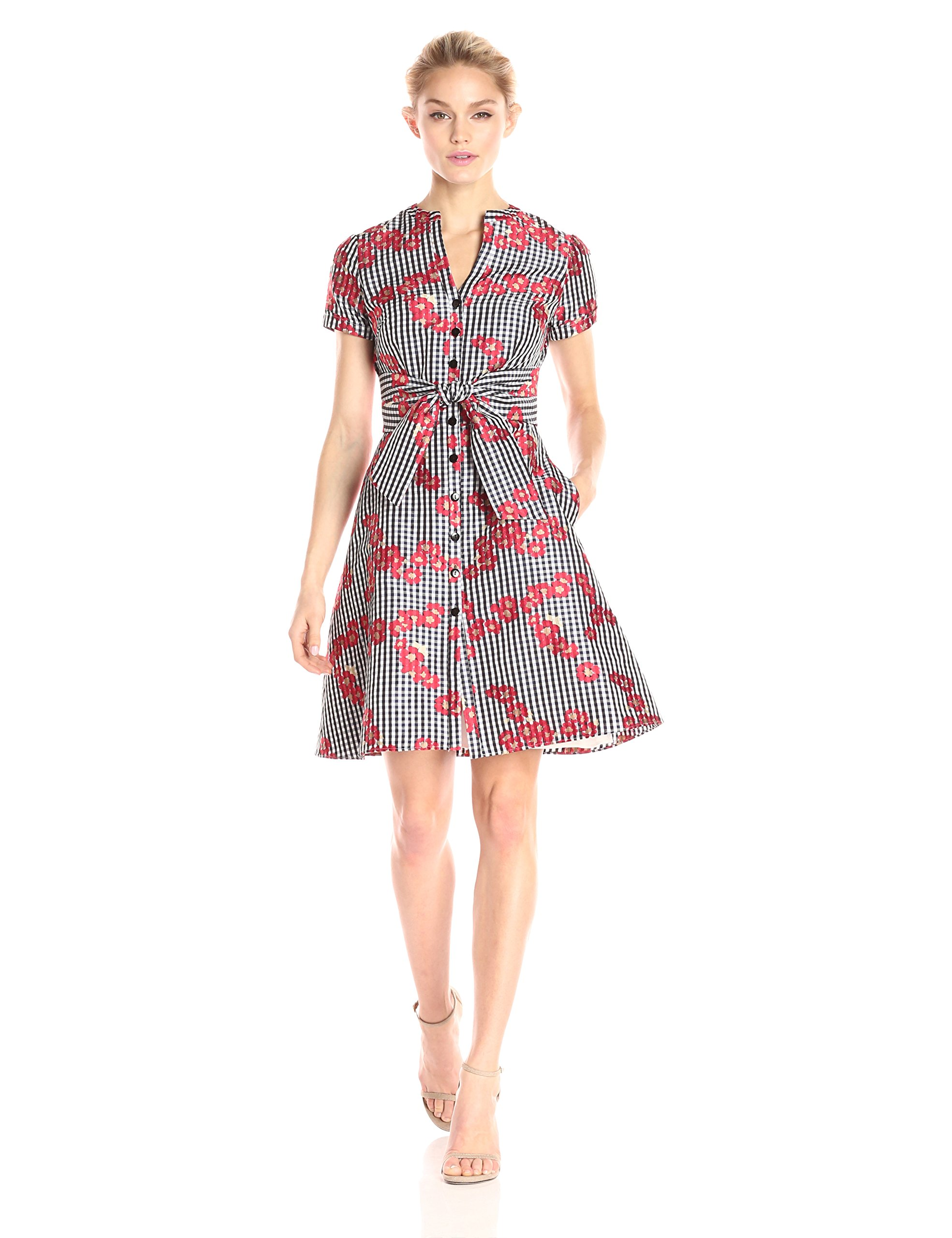 Adrianna Papell Women's Gingham and Floral Flared Embroidered Shirt Dress, Red, 14 by Adrianna Papell