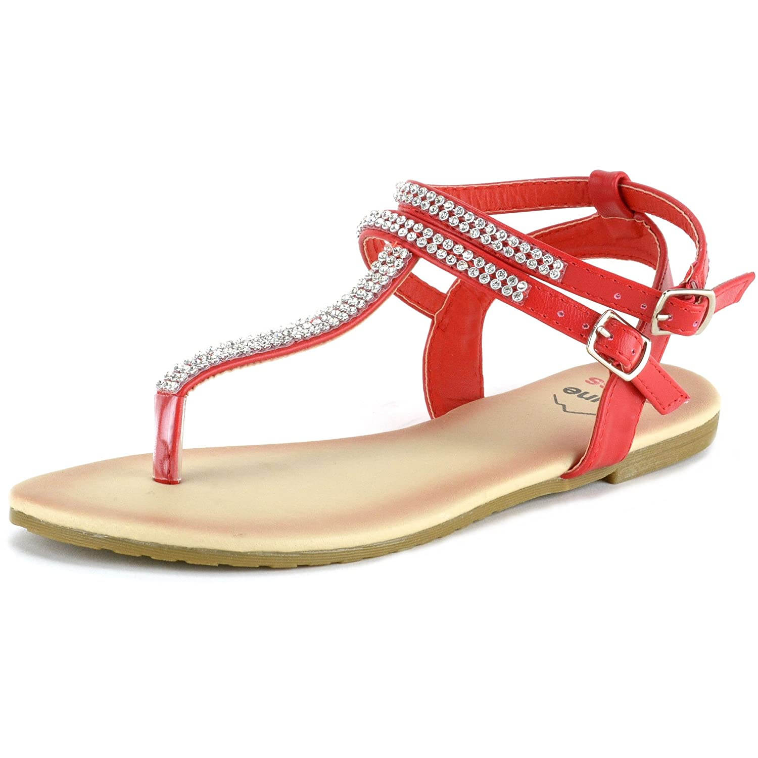 alpine swiss Womens Slingback T-Strap Rhinestone Ankle Strap Thong Sandals By Alpine Swiss