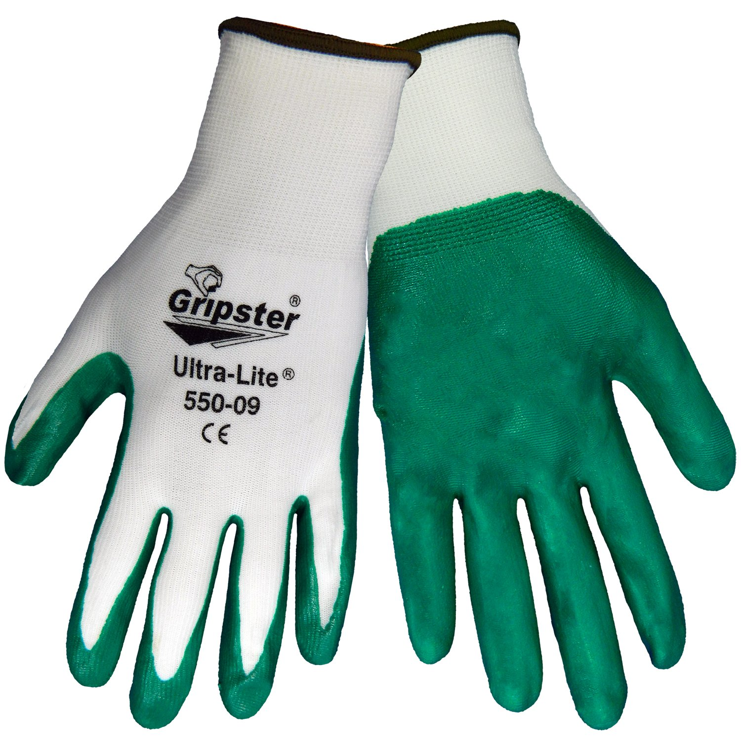 Global Glove 550 Gripster Ultralite Nitrile Glove with Knit Wrist Liner, Work, Small, Dark Green/White (Case of 72) by Global Glove