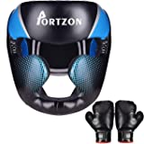 Portzon Boxing Headgear, Sparring Helmet Head Guard MMA Protector Headgear with Boxing Gloves