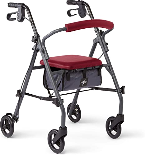 Medline Rollator Walker with Seat and Wheels, Folding Walker for Seniors with Microban Antimicrobial Protection, Durable Steel Frame Supports up to ...