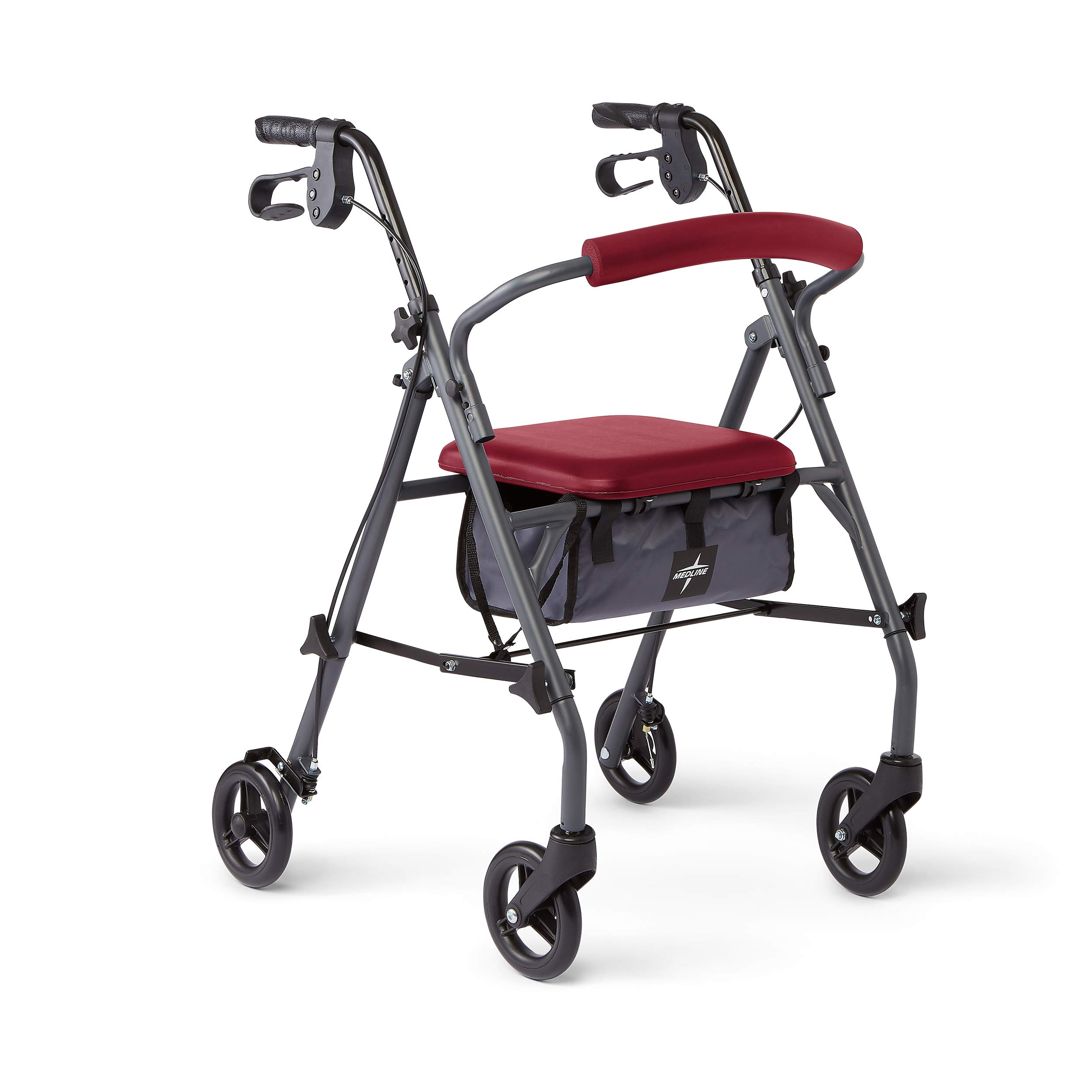 Medline Rollator Walker with Seat and Wheels, Folding Walker for Seniors with Microban Antimicrobial Protection, Durable Steel Frame Supports up to 300 lbs, 6 inch Wheels, Red
