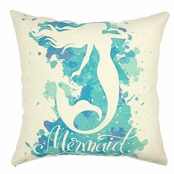 Mermaid Cotton Linen Decorative Throw Pillow