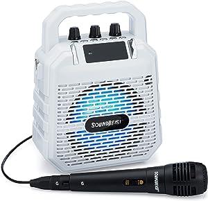 SoundBeast Firebird Karaoke Machine & Portable PA Speaker System For Kids & Adults - With Lights, Microphone, Bluetooth (White)