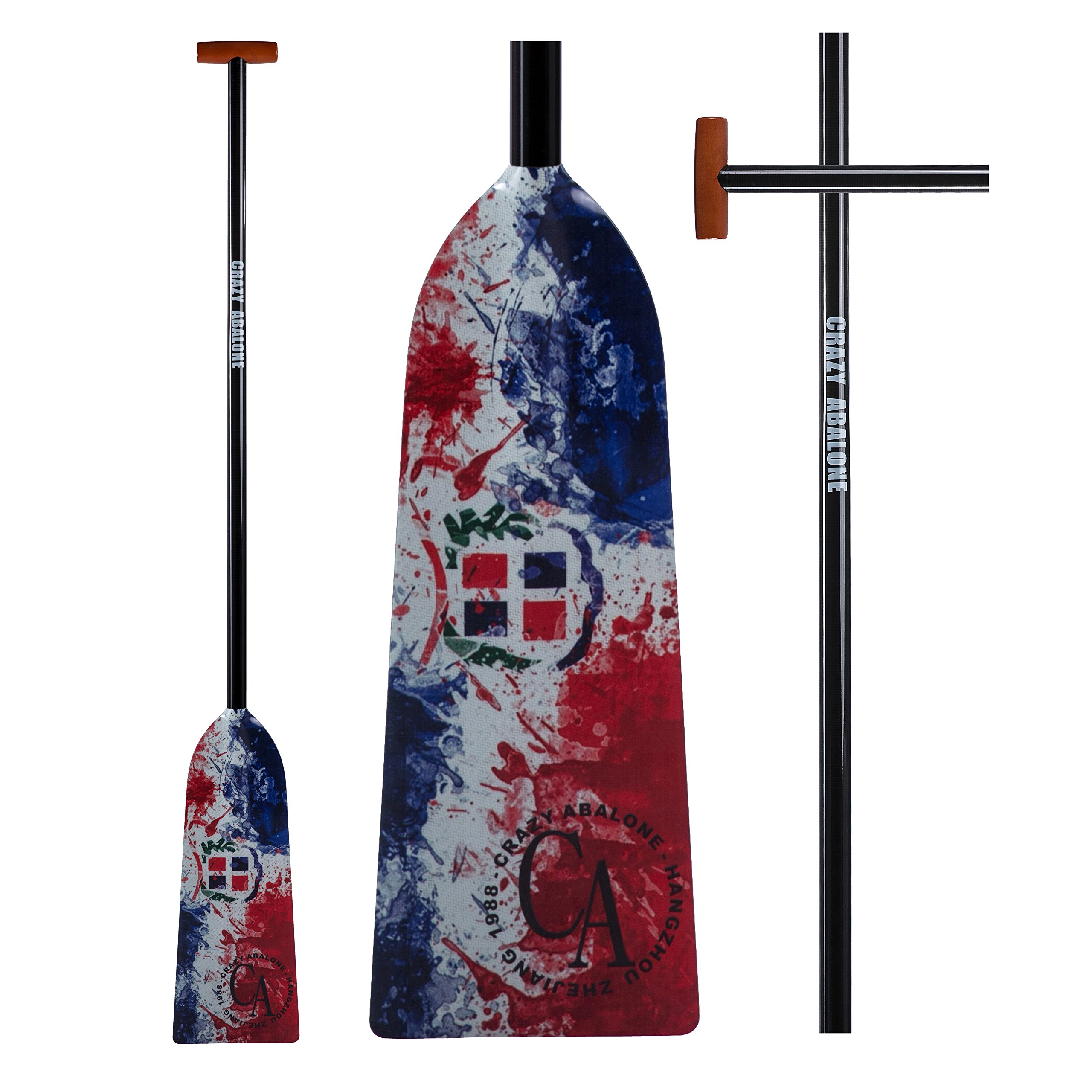 CRAZY ABALONE Sport IDBF Approved Carbon Fiber Splash Ink Dragon Boat,Hybrid Paddle with T Handle by CRAZY ABALONE