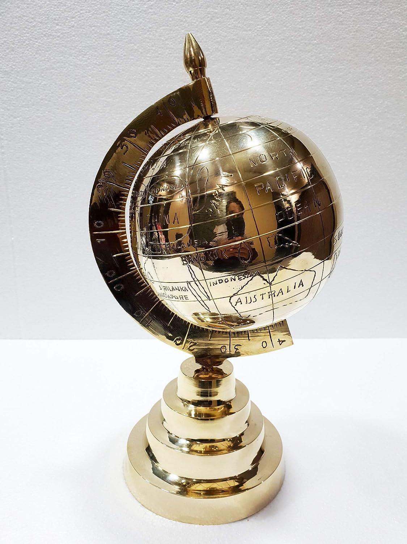 "11/"" Antique Brass World Map Desk Globe With Wooden Compass Base Nautical Decor"