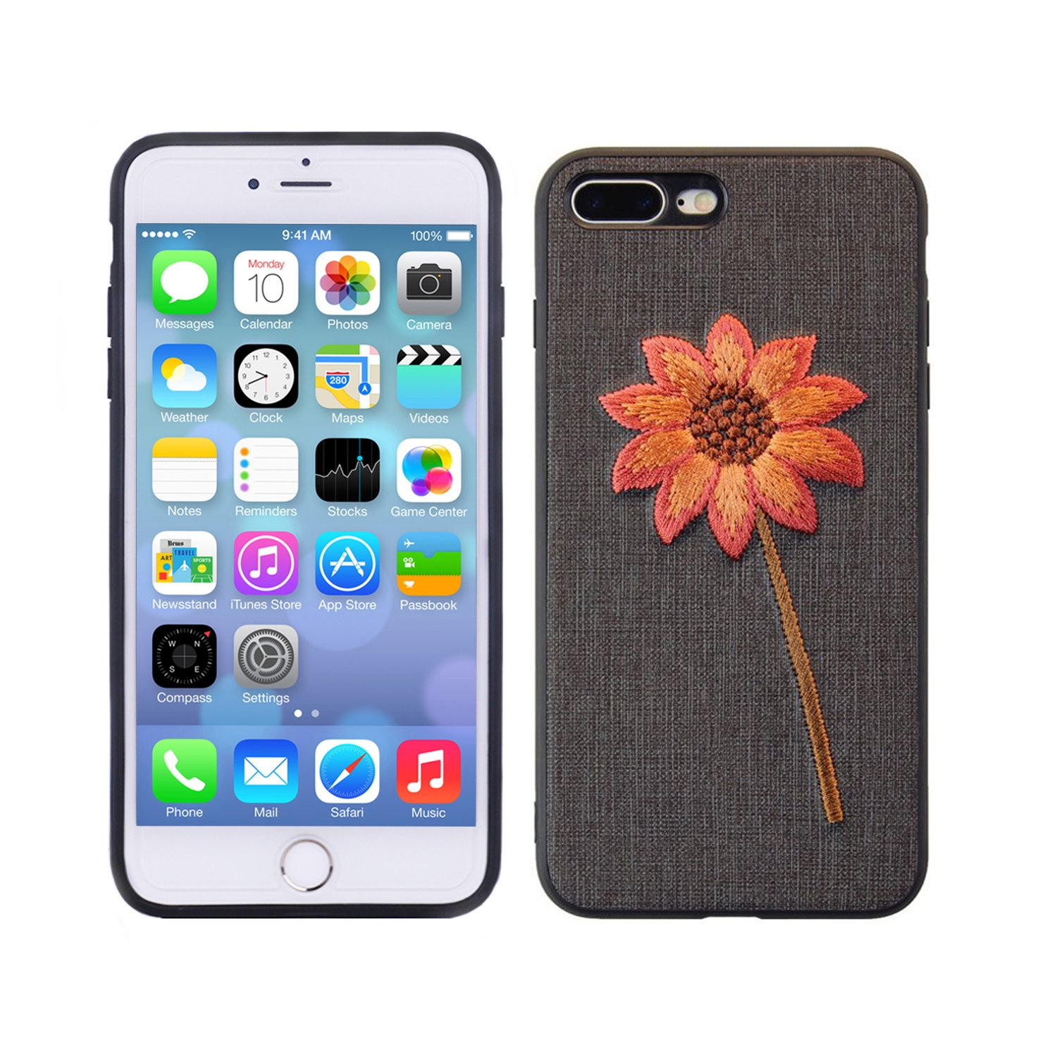 iPhone 7 Plus Case, iPhone 8 Plus Case, Embroidered Phone Case for iPhone 7 Plus/iPhone 8 Plus with Light Weight Ultra Slim TPU Materials and Protective Design Gold Chrysanthemum & Black(5.5Inches)