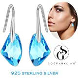 Swarovski Earrings For Women- 925 Sterling Silver Dangle Earrings With Peridot Green Crystal from Swarovski By GoSparkling: BRAND NEW Design For Secure Closing & Safety, Fashion Jewelry Drop Earring