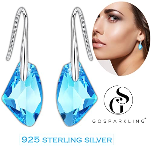 Pendientes Swarovski Aretes de Plata Fina 925 para Mujeres con Aguamarina Azul Cristales Swarovski de GoSparkling: NUEVO diseño de cierre seguro,
