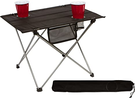 Marvelous Trademark Innovations Foldable Lightweight Camping Hiking Table With Mesh Cup Holders Gmtry Best Dining Table And Chair Ideas Images Gmtryco
